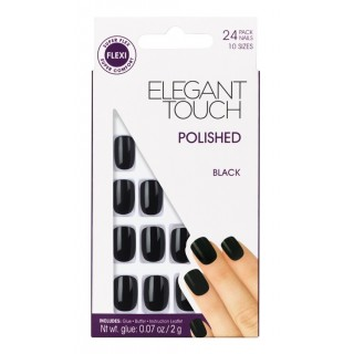 Faux-Ongles Polished - Jet Black Elegant Touch 1