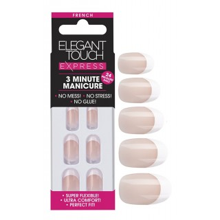 Faux-Ongles Pré-Encollés Express French - Pink Oval Elegant Touch 1
