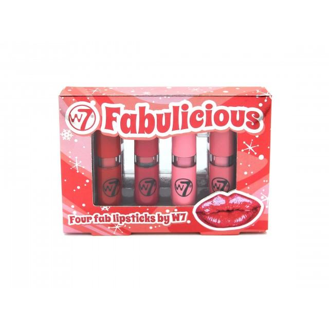 Coffret de 4 Mini Rouges à Lèvres Fabulicious W7 packaging