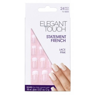 Faux-Ongles French Décorée - Lace Pink 1