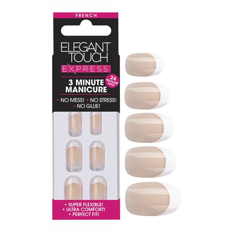 Faux-Ongles Pré-Encollés Express French - Bare Oval Elegant Touch 1